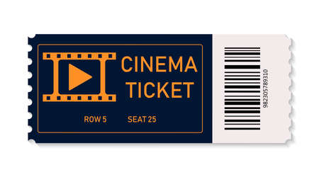 Ticket cinema. Ticket for movie, on concert, theater isolated on white background. Coupon for admission on film. Icon of raffle. Realistic template for entrance on festival and entertainment. Vector.