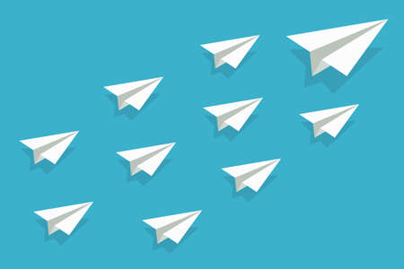 Leadership of airplane. Paper plane origami for concept of mission. Team leader with vision. Lead teamwor or group. Creative illustration for business, motivation and success. Icon of winner. Vector.