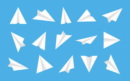 Paper plane. Origami airplane. White isometric icon for fly. Launch 3d aeroplane in flat style. Vectores