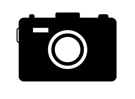 Camera icon. Symbol of photo, snapshot. Silhouette for photography, image and picture. Black simple icon of camera with flash, capture, lens and button.
