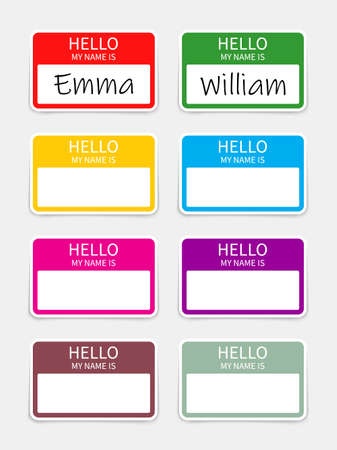 Name badge. Tag of hello. Sticker or card with my nametag. Label with hi. Paper card for identification teacher, speaker on meet and corporate. Template for registration on conference. Vector. Vectores