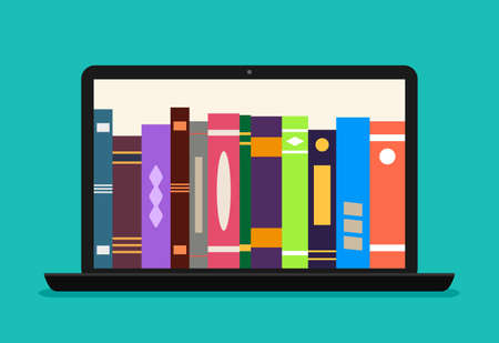 Online library book in laptop. Ebook store in computer. Digital catalog for learn in school. Electronic bookstore of university. Education with help subscription in virtual library. Ebook app. Vector.