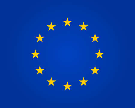 Flag eu. European union. Symbol of europe. Stars in round. Circle icon for schengen. Euro ring of community. Sign of parliament, standards and council of europa. Blue banner with yellow stars. Vector.