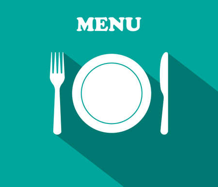 Fork, plate, knife - icons of lunch. Graphic decoration for menu of restaurant. Utensil for dinner. Cutlery for dish. Symbol of menu. Background for corporate banquet, cooking and kitchen. Vector.