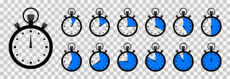 Timer and stopwatch. Clock with countdown time. Round icon for meter speed and stop. Chrono watch for cooking and sport. Background with second arrow on 45, 30, 15, 10, 5. Label for ui. Vector. Vectores