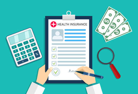 Health insurance. Medical insurer with form of healthcare. Doctor in hospital with money and calculator. Cost and bill on insurance for patient. Medicine checklist in document. Icon of clinic. Vector. Vektorgrafik