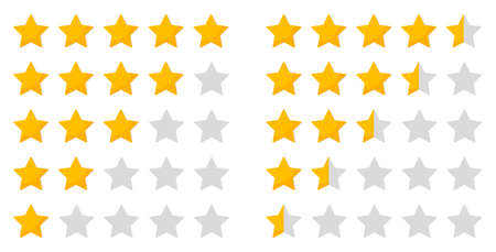 Star rating. Five icon for review and rate. 5 whole stars and 5 half of stars for evaluation. Ranking of quality, hotel. Service for customer. Gold symbols in row for vote on white background. Vector.