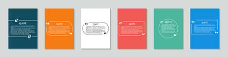 Quote in box. Square template for text bubbles with quotation. Background with frame for citation. Design for label, sticker and dialog. Creative set for media sentence with brackets. Vector.