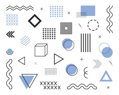 Geometric elements from 80s and 90s. Design shapes and graphic waves. Line, circle, dot, figure and pattern for abstract background. Memphis banner for hipster decoration. Retro ornament. Vector.