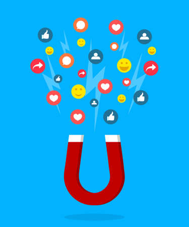 Magnet lead of social media. Social page with like, follower, heart. Acquire of influence with help ad, post, content. Concept of power of social media. Advertising with interface for blogger. Vector.