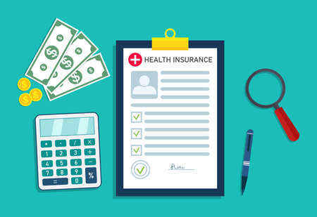 Health insurance. Medical form with money for healthcare. Icon for bill in hospital. Check and analysis of patient health before insure. Document, calculator for doctor. Cost of insurance. Vector.