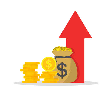 Icon of money income. Increase financial revenue. Growth of budget or profit. Return interest of earn. High arrow for more capital of company. Investment in business for multiply profit. Vector. Vecteurs