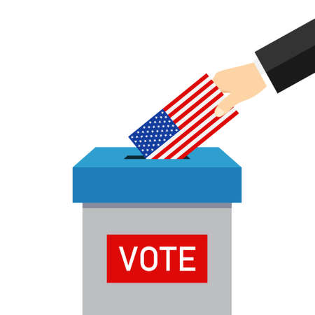 Vote 2020 in usa. Paper ballot and box for presidential election. Hand voter with card is symbol democracy. Icon for election day. Put envelope in box. Senate, policy, congress, candidates. Vector.