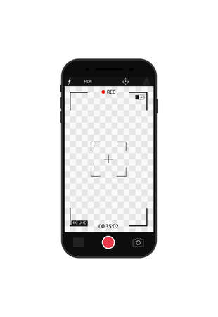 Camera record on screen. Cam frame with interface in phone for photo and 4k video. Viewfinder, focus, grid, zoom in mobile for videography and snapshot. Template smartphone with ui of display. Vector.