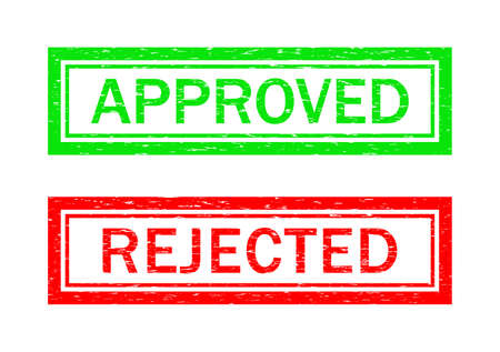 Stamp of approve and reject. Grunge icon for test of quality. rubber seal for certificate. Green and red symbols. Sign and sticker for permit or rejected. Badge for control. Label for report. Vector. Ilustrace