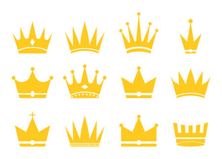 Crowns for king, queen, princess and prince. Gold icons for royal decoration. Silhouette of golden crown is symbol wealth and imperial majestic. Ilustrace