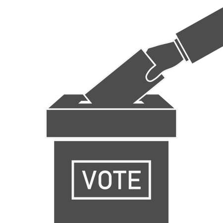 Ballot box and hand with vote. Icon of election. Voter with envelope on referendum. Candidate in government, parliament, president. Man with paper of poll. Political symbol. Vector. Ilustrace