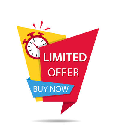 Offer time for sale. Promotion icon with clock and discount banner. Promo tag for last chance of sale. Label with alarm and countdown for limited offer.