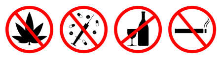 Sign of forbidden for alcohol, smoke and drug. Icons for ban of drink vodka, use cigarette and cannabis. Symbol of stop and prohibited. Zone of health. Warning about addiction and cancer. Vector. Ilustrace