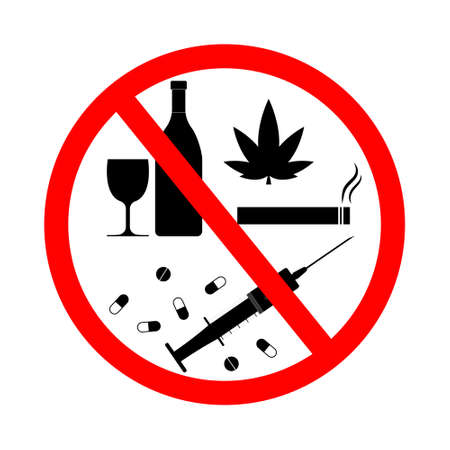 Drug, alcohol, smoke, vape sign forbidden. Tobacco and cannabis icons for stop. Warning and danger from cigarette and drunk. Symbol of ban of cigarettes, vodka and weed. Risk for health. Vector. Ilustrace