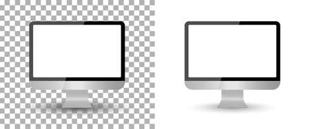 Computer monitor mockup with screen blank. PC isolated desktop. Laptop with frame. Modern icon on transparent background. device with display. Mock with lcd wide screen. Pro technology. Vector.