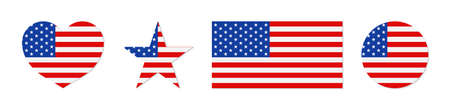 American flag. Icon of usa patriot with star and stripe. Emblem for proud of united states of america. Graphic shape for us eagle. Banner for memorial day of country. Vector.