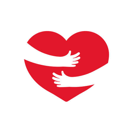 Embrace of heart. Icon of hug with heart with help hands. warm, love and care. Arm, heart hug yourself. Symbol of family cozy. Concept of health. Shape for mother day. Gift of charity. Vector.