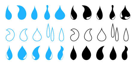 Drop water icons raindrops. Blue, black inks. Droplet blood or oil. Symbol of drip liquid. Outline shapes for rain, milk, sweat, tear. Set of dyes. Graphic moisture icon. Blob paint. Vector.