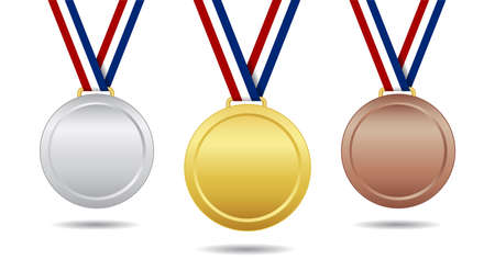 Gold, bronze and silver medal. Award with ribbon. Trophy for winner and champion. Emblem for championship. Icon on competition and ranking. 1, 2, 3 places in sport. Reward isolated. Vector.