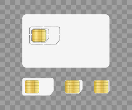 Sim card for mobile with chip. Simcard for identity on phone. Nano and micro card for corporate communication. Prepaid for technology. Icon on transparent background. Cellphone with microchip. Vector. 矢量图像
