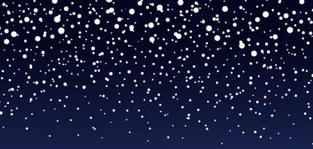 Snow background. Blue sky at night. Christmas snowfall in winter. Falling of snowflakes. Starry fall. Pattern with magic snowstorm. White frozen storm. Texture for winter holiday or starry sky. Vector
