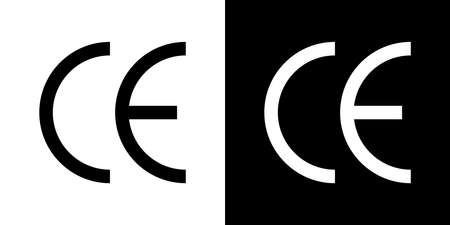CE icon. Symbol of european certificate. Mark of quality. Logo of conformity safety. Packaging of manufacturer. Estimated europe certification. Black eu product safe label and sticker. Vector.