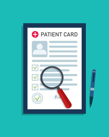 Patient medical card. Report about health. Record in document from doctor. Medic investigation in hospital. Medical form with profile, data of diagnosis and prescription. Medicine icon. Vector.
