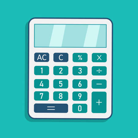 Calculator icon. Calculate finance with modern calculator with display and buttons. Accounting and economy concept. Equipment for business, algebra and mathematics. Financial device. Vector. Ilustrace