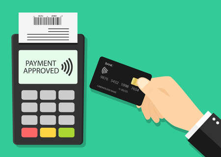 Card payment on pos. Credit card and terminal with contactless of pay. Hand with machine for cashless transaction and receipt. Icon for bank, nfc and wireless technology. Online processing. Vcetor.