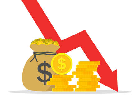 Graph of money loss. Low cost dollars. Crisis of economy with decrease sales and revenue. Icon of reduction of market and economic down. Financial bankruptcy. Infographic of inflation. Vector.