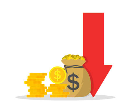 Cost low and loss. Decrease revenue. Crisis of economy. Icon of money inflation. Graph of financial investment with arrow down. Reduction of business. Bankruptcy of company or lack of budget. Vector.