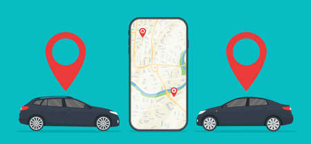 Car with app of cab in mobile. Uber taxi. Rent of car in city. Online service with location of auto in phone. Application of gps navigation on road for travel. Order for taxi with urban map. Vector.