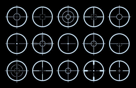 Target on crosshair of gun. Sniper sight icons. Cross scope for rifle of army. Logo for military games. Shot in aim. Lens with focus pointer for weapon. Precise telescope. Radar symbols. Vector. Ilustração