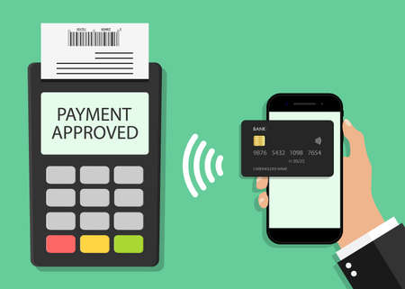 Payment from card in phone on pos terminal. Contactless transaction from mobile. Icon for paypass, nfc pay from credit card in smartphone. Phone in hand for online, wireless, cashless payment. Vector. Ilustrace