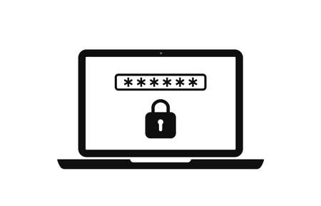 Icon of laptop with lock and password for safety. Login with account in computer. Cyber secure. Registration of user in software. Padlock in screen for protection and identity. Web logo. Vector.