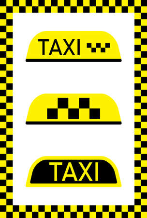 Taxi sign for car. Cab on yellow-black background. Checkered flag for driver in Nyc. Checkerboard pattern. Icon for taxi service. Wallpaper for public transportation and travel. Logo for roof. Vector.