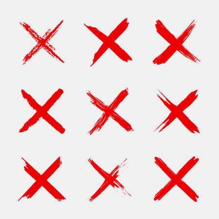 Cross sign. X icon. Red sketch mark. Grunge brush for symbol of wrong, delete, error, cancel and reject. Paint and ink for handwritten. Logo for vote and check. Blood stamp in shape of cross. Vector.