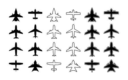 Plane icon. Silhouette of airplane. Outline aircraft for travel, transport, cargo and military. Symbol for airplain. Simple white and black graphic aeroplane. Shapes of jet flight. Art for air. Vector Ilustrace