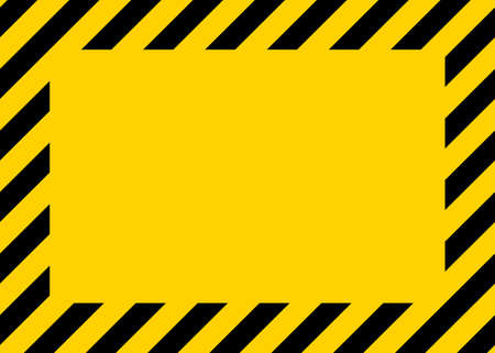 Caution, warning in yellow-black border. Warning tape of danger on construction area. Sign of hazard. Frame-background for safety from accident on street. Banner, board for attention on road. Vector. Ilustrace