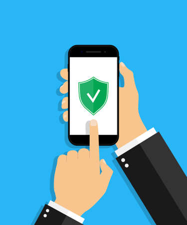 Mobile antivirus. Check with shield antivirus in phone. Hand hold cellphone with secure login. Protect icon from hacker in smartphone screen. App for safe. Mark of success of protection. Vector. Ilustrace