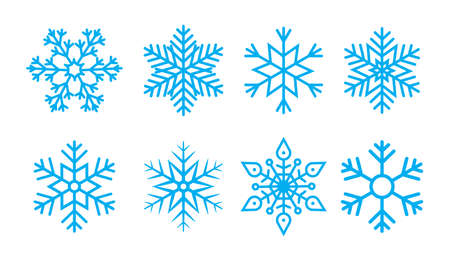 Snowflake for christmas. Snow flake for winter. Blue icons. Pattern of ice stars. Set of cold crystal symbols on white background. Abstract holiday collection for december. Snowy weather. Vector. Ilustrace