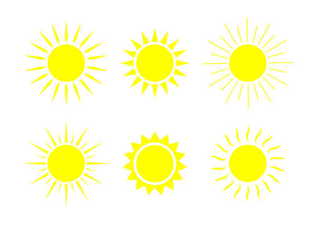 Sun icons. Sunshine graphic shapes. Symbol of summer sunlight weather. Set of cartoon sunrises. Yellow silhouettes of suns. Logos for sunset, sunny spring morning. Illustration for happy. Vector.