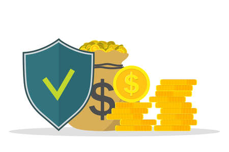 Protect of money. Financial insurance guarantee. Safe of business. Prevention from fraud, risk. Shield icon is protect account. Safety loan in bank. Logo of secure payment, deposit and banking. Vector Ilustrace