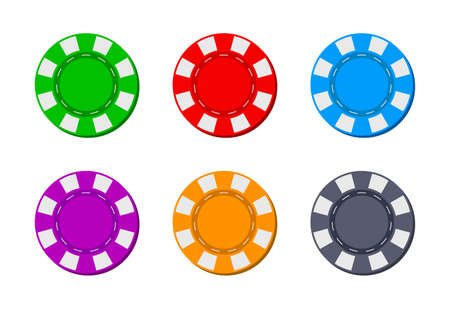 Poker chip for casino. Blackjack icon. Token for gambling. Logos isolated for game. Coins from Las Vegas for roulette. Bet in casino. Chips for entertainment in front on white background. Vector. Ilustrace